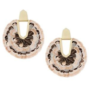Diane Gold Statement Earrings In Ivory Feathers